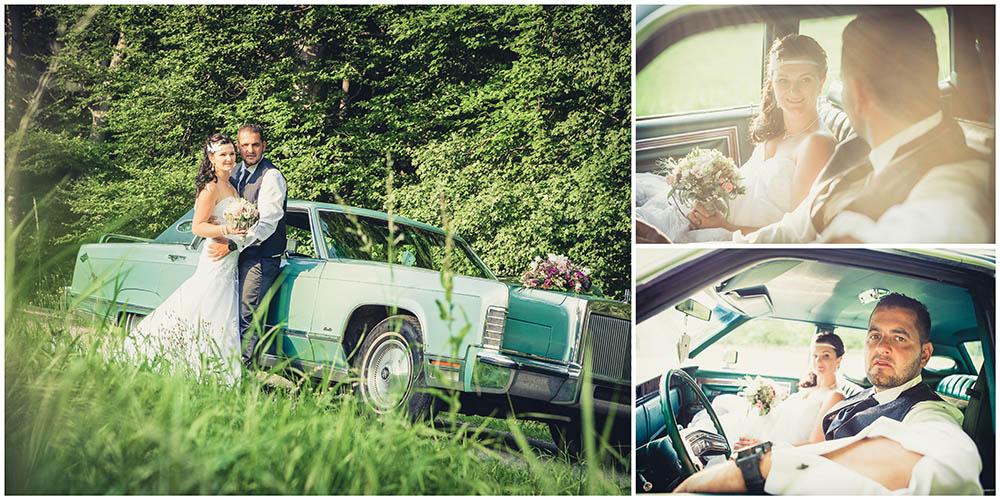 Hochzeitsfotografie Erfurt vintage im Freien Hochzeitsportraits Brautpaar am und im Cadillac Portrait Braut und Braeutigam