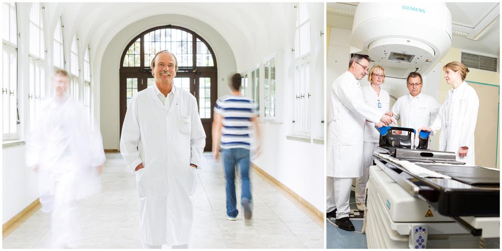 Business - Fotografie von Ärzten Bild 1 zeigt ein dynamisches Ärztebild in einem hellen Gang. Bild 2 zeigt eine Beratung eines Ärzteteams an einem nuklear-medizinischen Gerät.