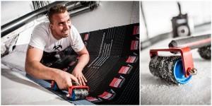 Business - Arbeitsportraits eines Dachdeckers und Detailaufnahme eines Werkzeugs