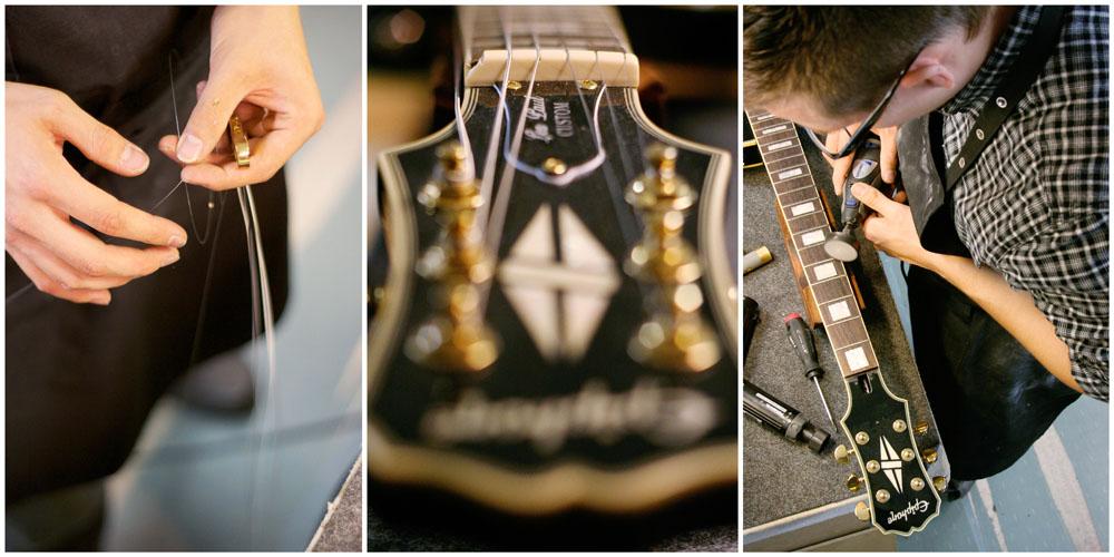 Business - Fotos in einer 3-er-Collage eines Gitarrenbauers in verschiedenen Details