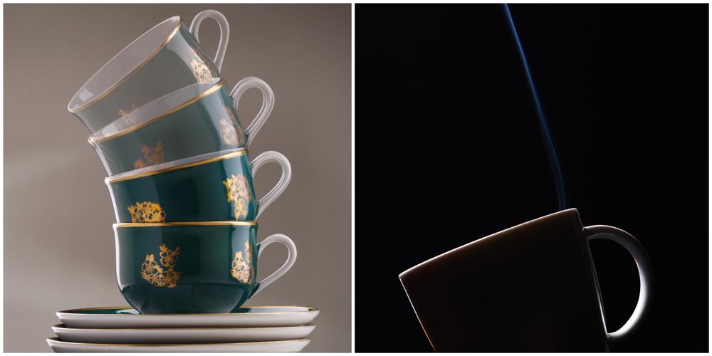 Stilllife Tassen übereinander gestapelte Tassen und eine Cappuccino-Tasse, aus der Dampf kommt.