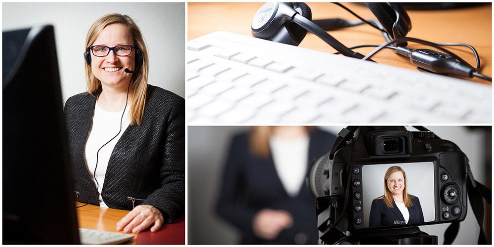 Business - Fotografie einer Consulting-Firma 3er-Collage einer Frau im Büro, Webinar-Kamera und Tastatur-Detail