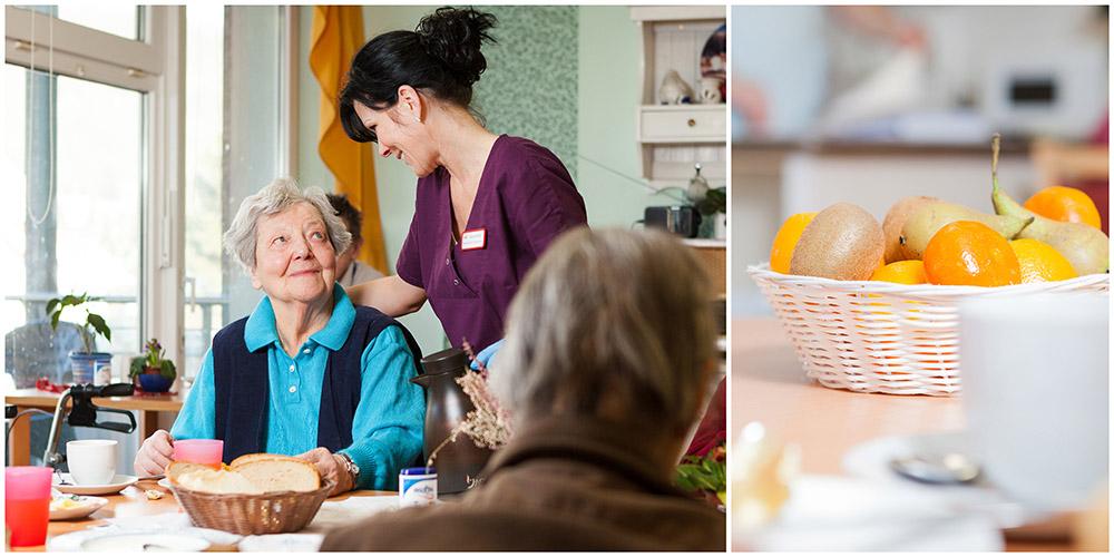 Business - Fotografie im Altenheim Altenpflegerin schenkt Kaffee ein und Detailbild vom Frühstückstisch