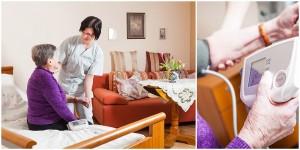 Business - Fotografie im Altenheim Bild einer Altenpflegerin, die Blutdruck misst und Detailaufnahme eines Blutdruckgerätes.