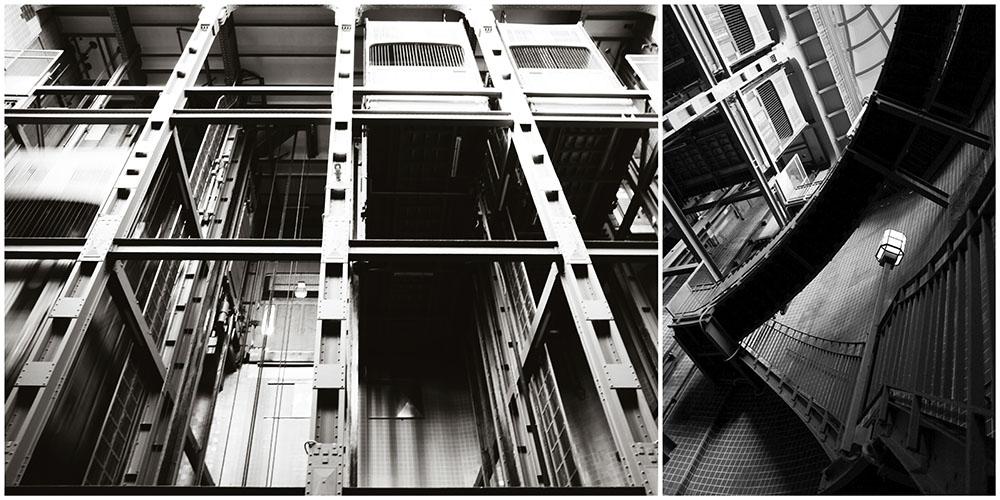 Architektur Elbtunnel-Fahrstuhl und Elbtunnel-Treppe in Hamburg