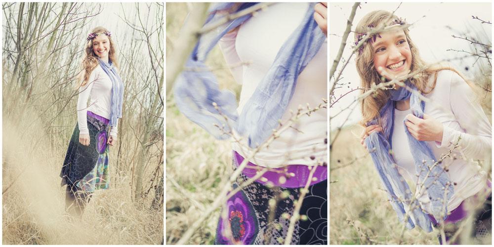3 natürliche Portraits einer Frau mit lila Blumenhaarkranz