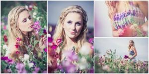 4 natürliche Beauty-Portraits einer Frau im pink-lilafarbenen Wickenfeld