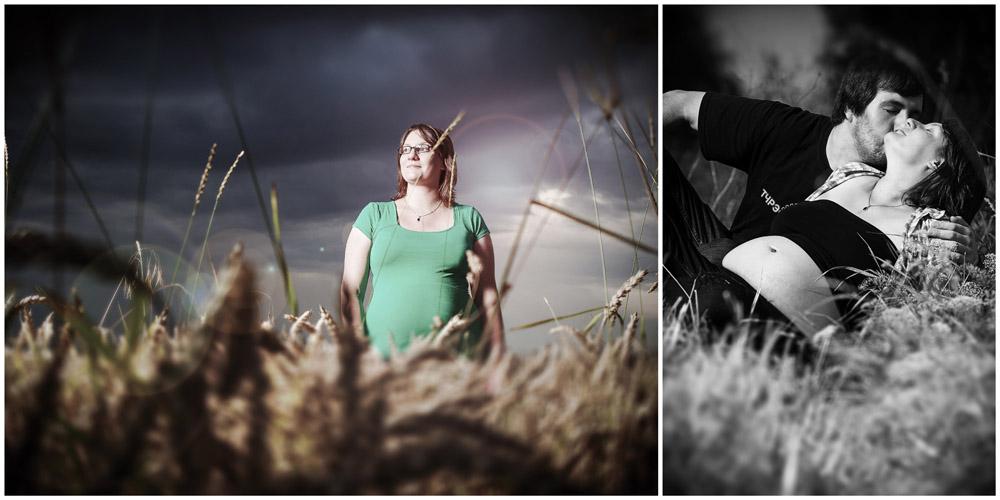 Schwangere Frau im Kornfeld und Pärchen auf Feldweg