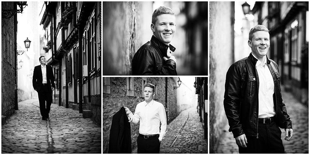 4 Portraits eines blonden Mannes in der Erfurter Altstadt in Schwarz/Weiß