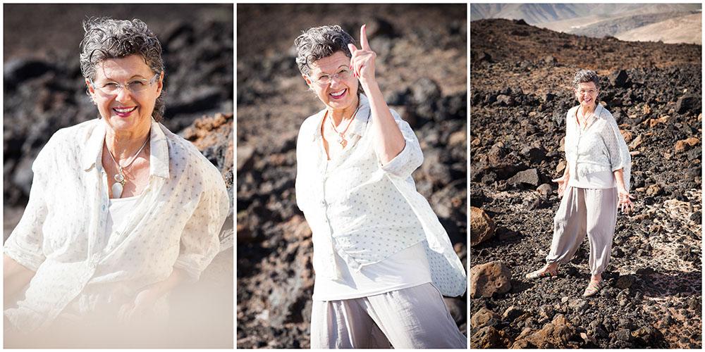 3 energische Portraits eines Coaches mit heller Kleidung im Lava-Gestein