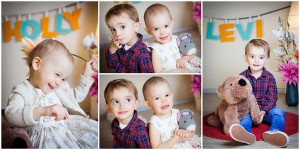 4-er Collage von natürlichen Geschwisterportraits mit Namenszug